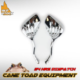 10mm Universal Motorcycle Skeleton Skull Claw Rearview Mirrors ATV Quad Pit Dirt bike