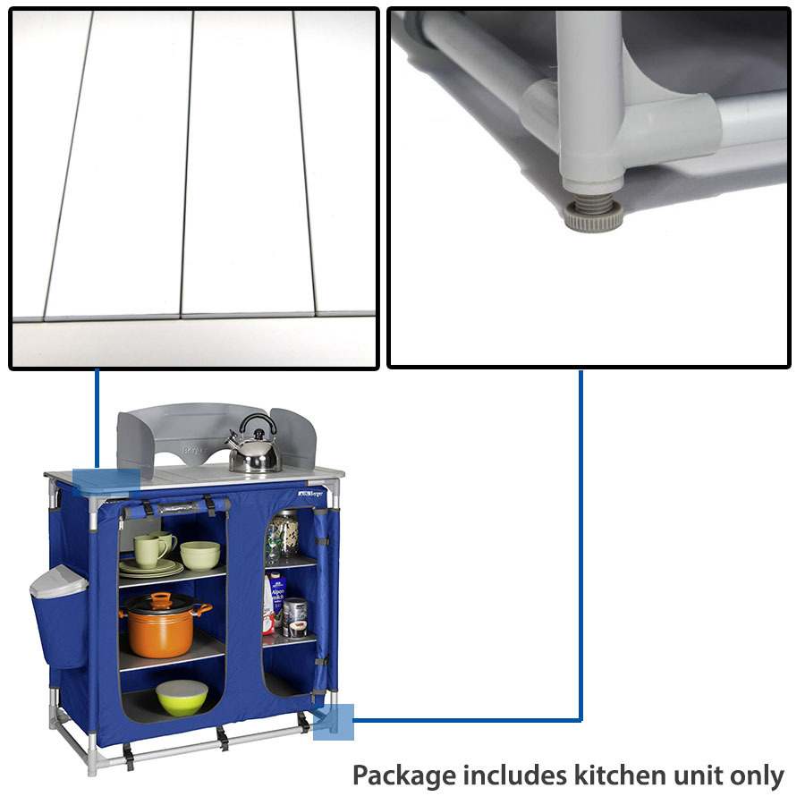 Camping Kitchen Unit Cook Table Foldable Storage Cupboard Windshield ...