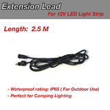 DC Power Extension Cable for Camping Lighting Device 2.5m Length 2.1mm / 5.5mm Male Female Jack