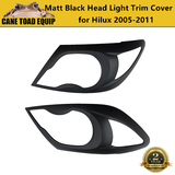Matte Black Headlight Front Protector Trim Cover Pair for Toyota Hilux 2005-2011