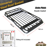 1.4m Universal Steel Roof Rack One piece Powder Coated Basket Luggage Carrier Car 4WD