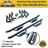 Pair 3'' Side Steps Bars fits Mitsubishi Triton MQ MR 2015-ON Steel Powder Coated Matte Black 4DR