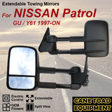 Extendable Towing Mirrors For NISSAN Patrol GU / Y61 1997- 2018 Pair Black
