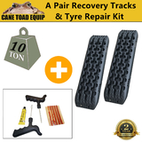 Recovery Tracks+Typer Repair KIT 4WD 4x4 ATV Black Offroad Tyre Ladder Caravan Sand Mud Snow