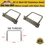 Stainless Steel U Bolt Kit M8 100MM Length with Nylon Nut 2 Set Roof Rack Basket Universal 4X4
