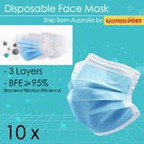 10xDisposable Face Masks 3-Ply Anti Dust Flu Virus Lot Protective Filter