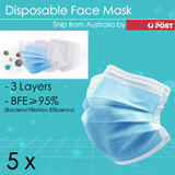 5 x Disposable Face Mask 3-Ply Anti Dust Flu Lot Protective Filter