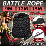 Battle Rope 50mm Battling Strength Training Home Gym Exercise Fitness Anchor 9M/12M/15M
