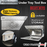 Pair of Aluminium Under Tray Ute Tool Boxes Heavy Duty Vehicle Chest Storage w Lock Commercial Utility