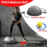 Yoga Bosu Balance Ball Pilates Core Exercise Resistance Bands Gym Training Half Fitness w/ Pump