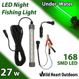 27W LED Underwater Fishing Light 1800 Lumens Green 12-24V Squid Prawn Fish