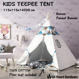 Large Teepee Tent Kids Cotton Canvas with Floor mat Children Home Pretend Play Outdoor Indoor