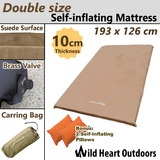 SELF INFLATING MATTRESS Double Size 10cm Thick Suede Sleeping mat plus Inflatable Pillow Camping