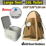 10L Portable Toilet & Camping Shower Tent Shower Bag Change Room Shelter Ensuite
