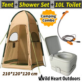 10L Portable Toilet & Camping Shower Tent & 12V Shower Set Camping Change Room Shelter Ensuite