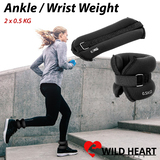 2x0.5Kg Wrist Ankle Weight Adjustable 1 Kg Gym Home Fitness Training Adjustable Pair Strap Walking Jogging Gym Fitness Exercise Gymnastics Aerobics