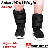 2x6Kg Wrist Ankle Weight Adjustable Gym Home Fitness Training Adjustable Pair Strap Walking Jogging Gym Fitness Exercise Gymnastics Aerobics