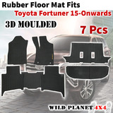 Rubber Floor Mats Fits Toyota Fortuner 15-onwards Full Set 3D Moulded