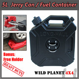 5L Jerry Can Fuel Container With Holder Spare Black Petrol Container Heavy Duty