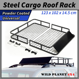 Universal Steel Roof Rack Powder Coated Basket Luggage Carrier Car 4WD 1.23m