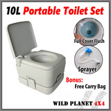 10L Portable Toilet Outdoor Camping Potty W Carry Bag Caravan Camp Boating