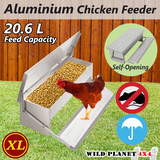 20.6L Chicken Feeder Automatic Aluminium Chook Treadle Self Opening Poultry Rat-proof