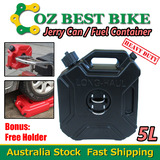 5L Jerry Can Fuel Container With Free Holder Black Spare Petrol Container Heavy Duty