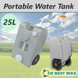 25L Portable Water Tank Grey Wheel Camping Caravan Storage Motorhome Waste Transport Gray