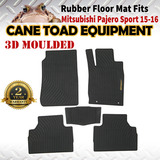 3D Rubber Floor Mats Fits Mitsubishi Pajero Sports 15-onwards 1st&2nd Row Heavy Duty All Weather