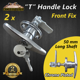 2x 50mm T Handle Lock Front Fixing w 2Keys Caravan Garage Shed Trailer UTE