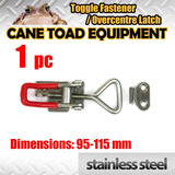 1XSTAINLESS STEEL Medium OVERCENTRE LATCH TOGGLE FASTENER LOCK TRUCK UTE TRAILER 4WD toolbox M2