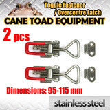2XSTAINLESS STEEL Medium OVERCENTRE LATCH TOGGLE FASTENER LOCK TRUCK UTE TRAILER 4WD toolbox M2